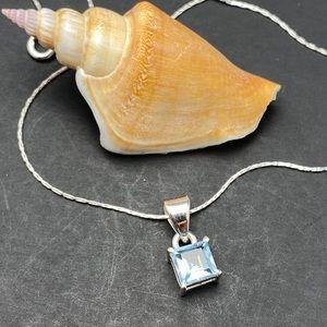Aquamarine Gemstone Solid Sterling Silver Necklace